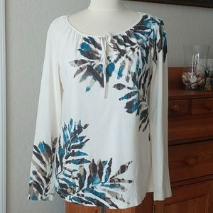Tommy Bahama Tie Neck Palm Print Long Sleeve Top